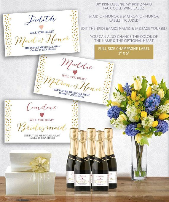 custom champagne labels printable bachelorette bottle label