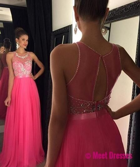 Pink Open Back Long Prom Dresses