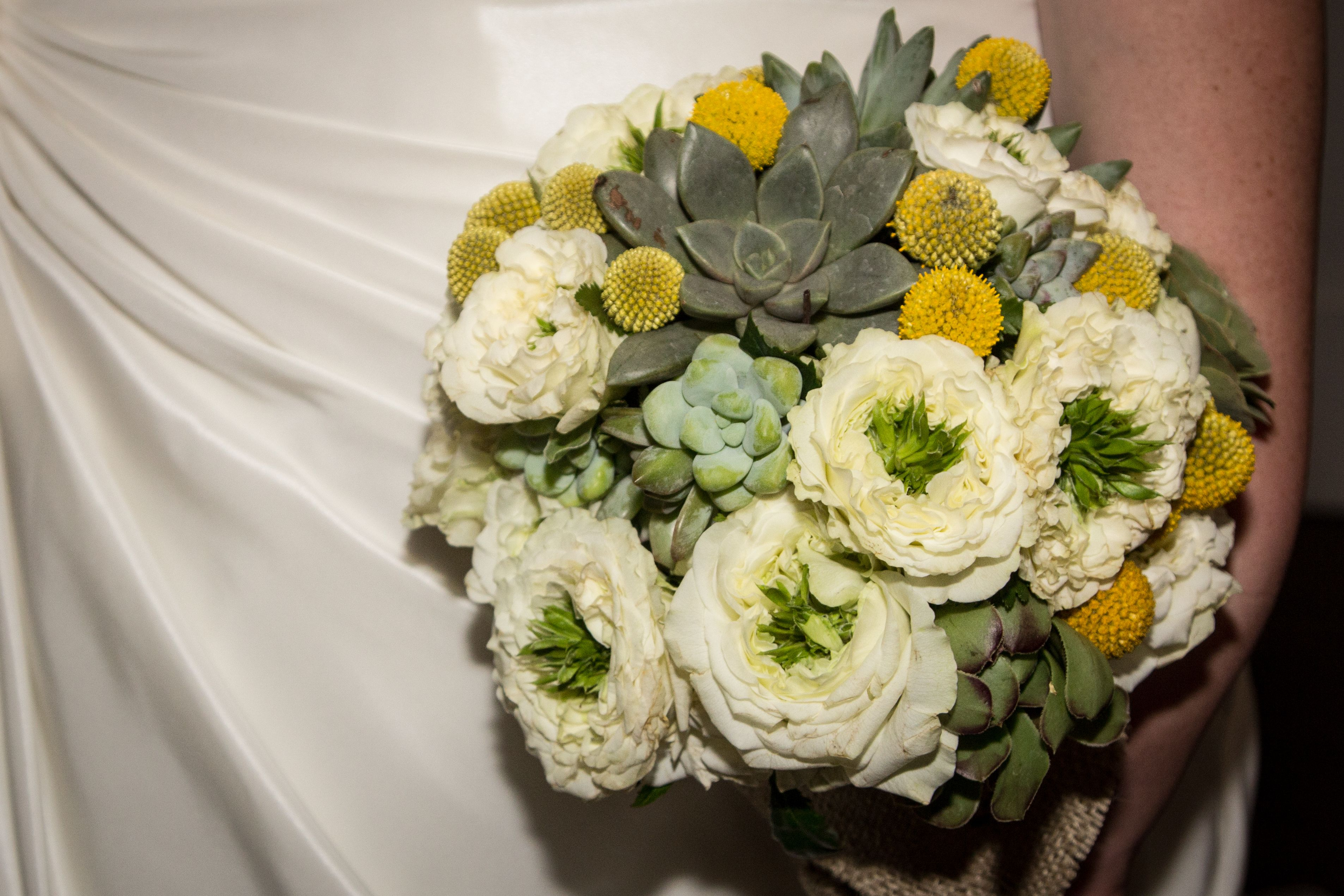 Bridal billy ball and succulent bouquet succulent