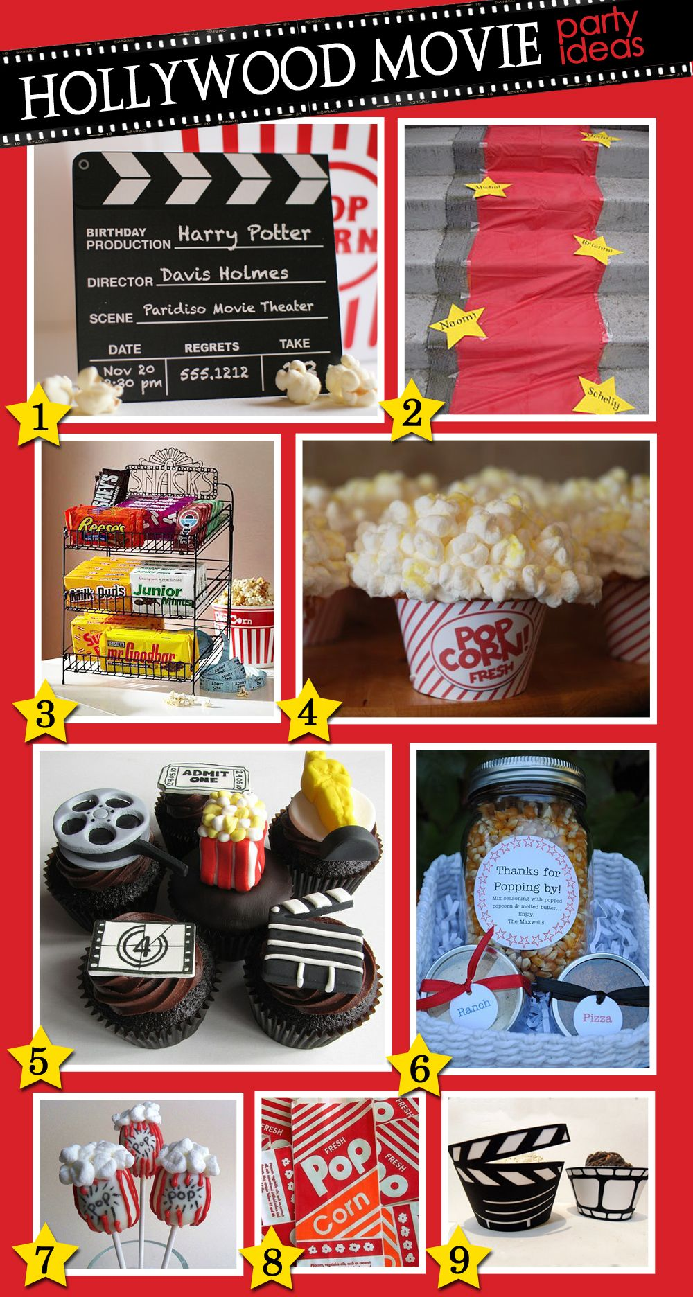 Accent Your Hollywood Movie Party With A Red Carpet Stars Guests Names And Popcorn Cake Pops Swankypress