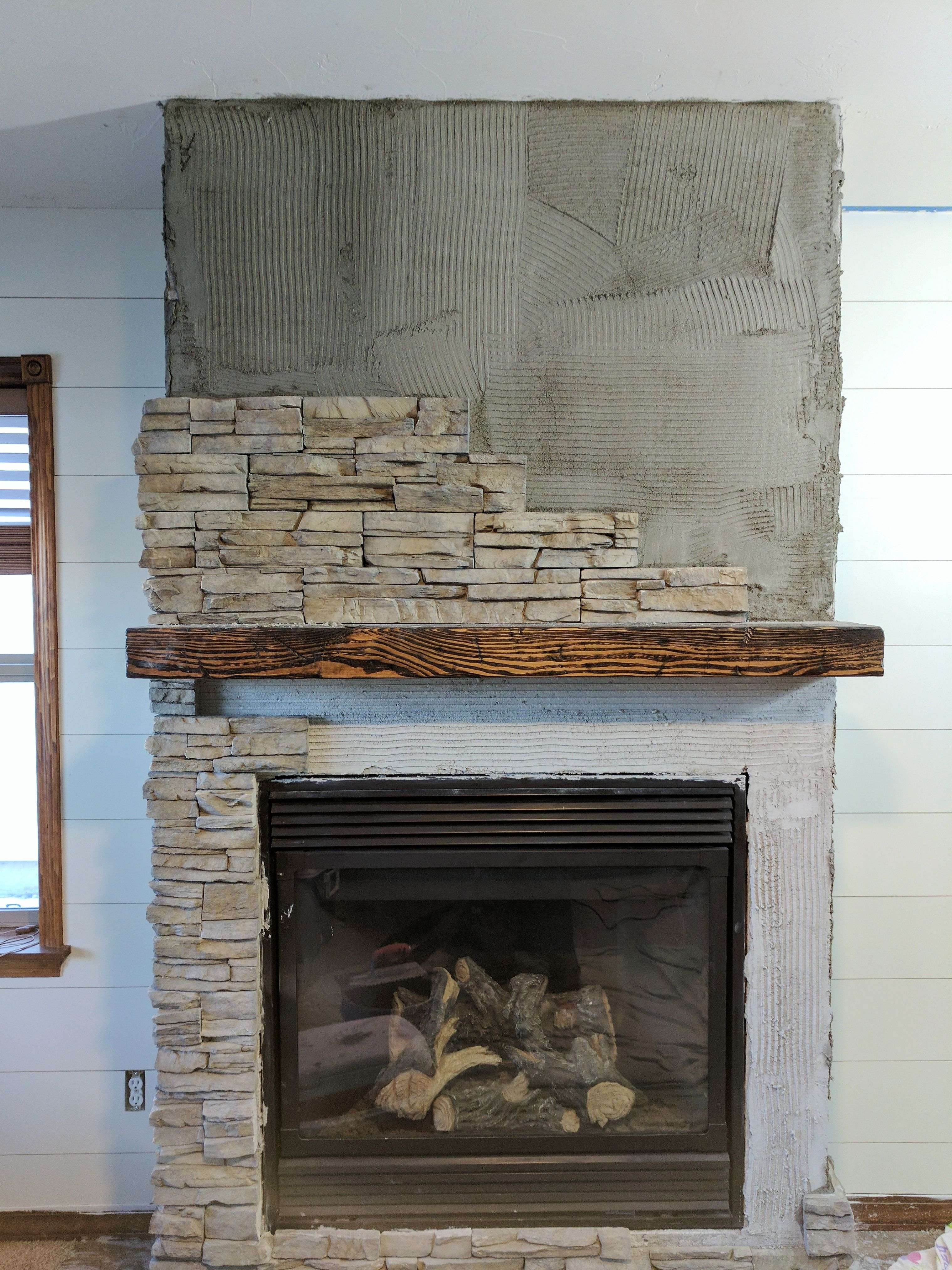 Stacked Stone Fireplace Remodel Fireplace remodel