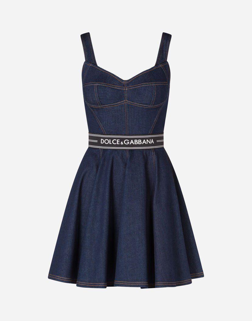 Women's Dresses | Dolce&Gabbana – SHORT DENIM CIRCLE-SKIRT DRESS WITH BELT – adidas STELLA sport