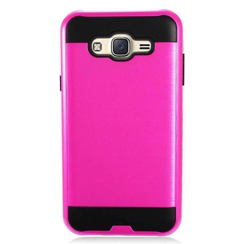 Insten Hot Pink/ Chrome Hard Plastic Dual Layer Hybrid Brushed Case Cover For Samsung Galaxy J7