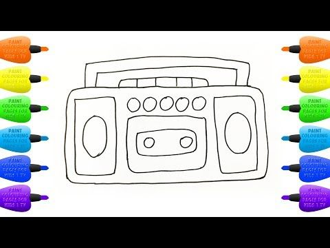 How To Draw Cassette Tape Recorder Coloring Pages Player Vidinterest Kids Coloring Book Coloring For Kids Coloring Books
