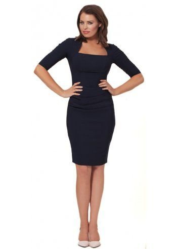 Jessica Wright Gilly Navy Blue 3/4 Sleeve Pencil Dress