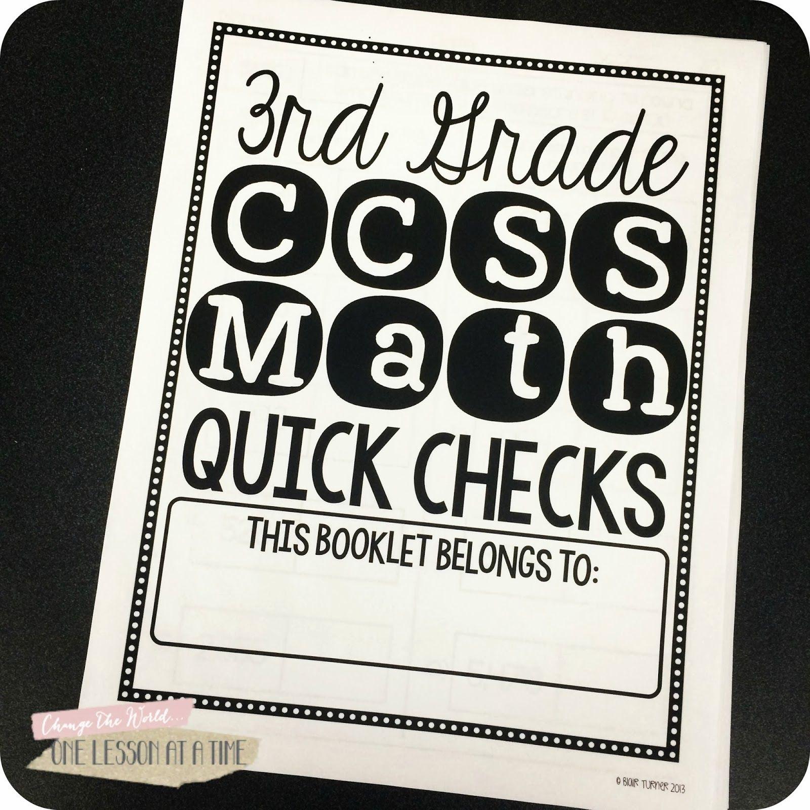 Quick Checks 3rd Grade Ccss Math Assessment And Data