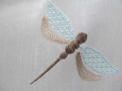 Marvelous Curtayn Fabric With Dragnflies | Fabric Shower Curtain Embroidered Dragonfly  Aqua Blue White Brown . Amazing Ideas