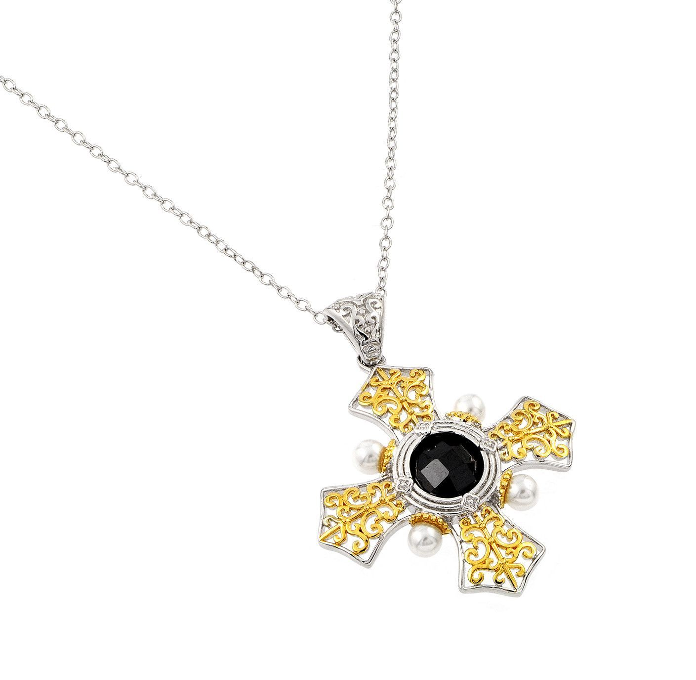sterling silver rhodium and gold plated box cross with black