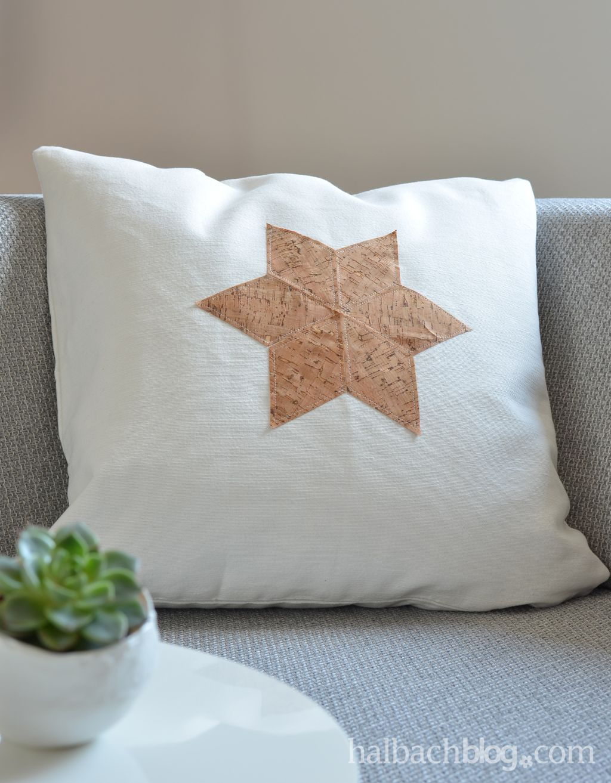 halbachblog i diy anleitung kissen mit geo stern applikation aus korkstoff n hen i sewing. Black Bedroom Furniture Sets. Home Design Ideas