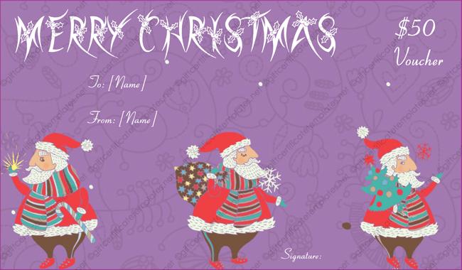 Christmas Celebration Gift Card For Family Gift Voucher Word