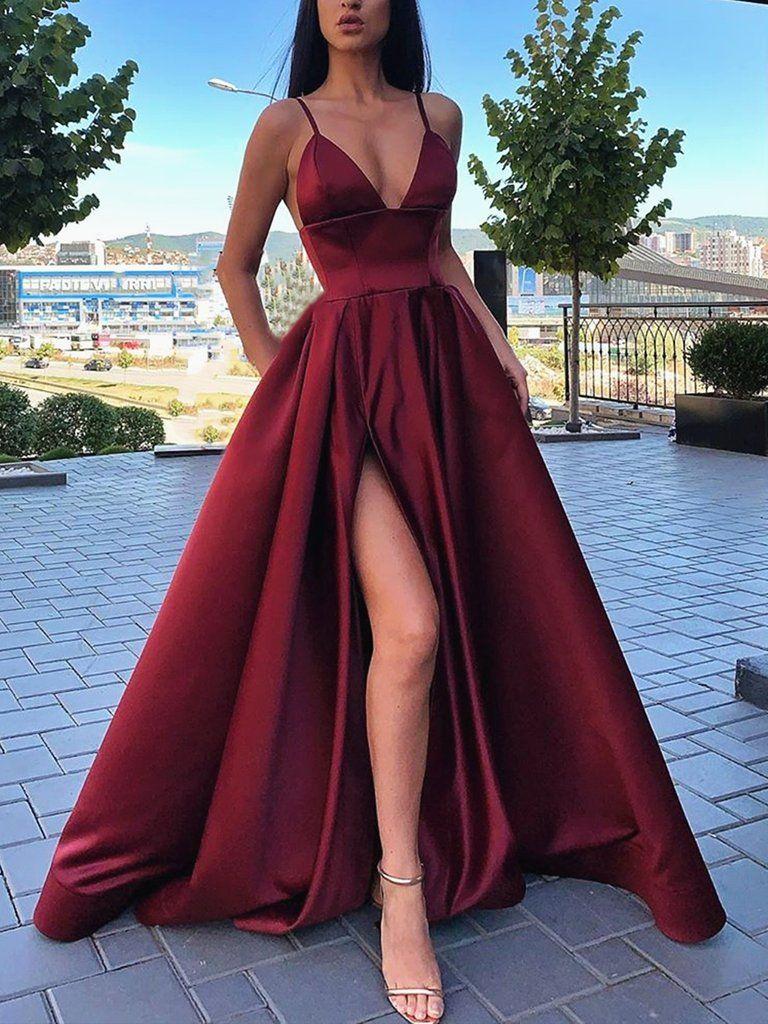 A Line V Neck Black Burgundy Prom Dresses, Black Wine Red Formal Evening Dresses