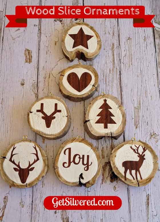 Wood slice ornaments silhouette projects project ideas for Wood slice craft projects