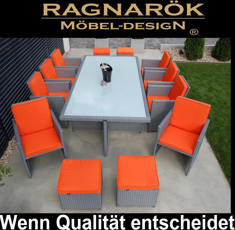 Edle Moderne Orange Essgruppe Tisch 8x Stuhl 4x Hocker 8 Jahre Garantie Polyrattan Gartentisch Aluminium Polyrattan Polyrattan Essgruppe