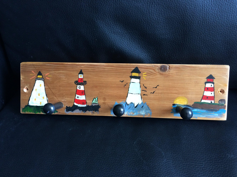 Hand Painted Lighthouse Coat Pegs Coat Rack Coat Hooks Coat Storage Recycled Wood Hand Made Nautical Theme Beaches Useful Coat Pegs Nautical Theme Recycled Wood