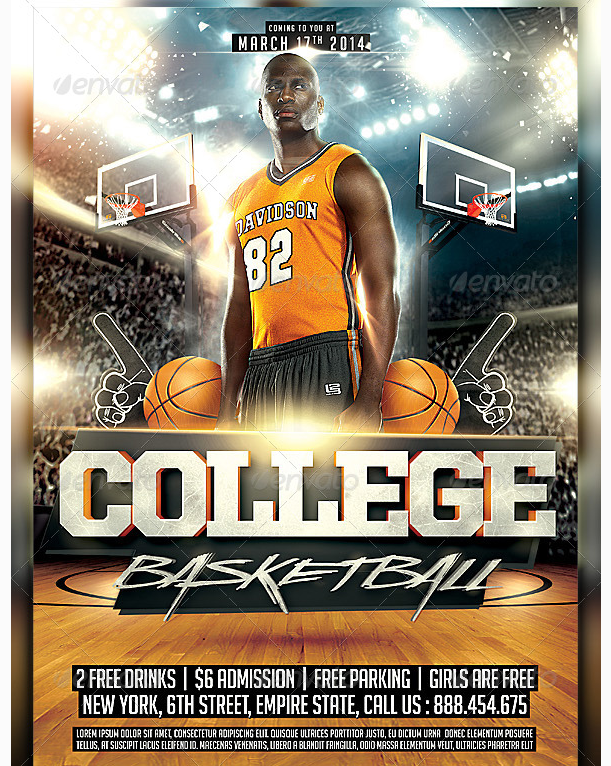 March College Basketball Flyer - Party Flyer Templates For Clubs ...