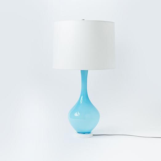 Elegant West Elm + Rejuvenation Colored Glass Table Lamp   Light Blue | West Elm,  17.5