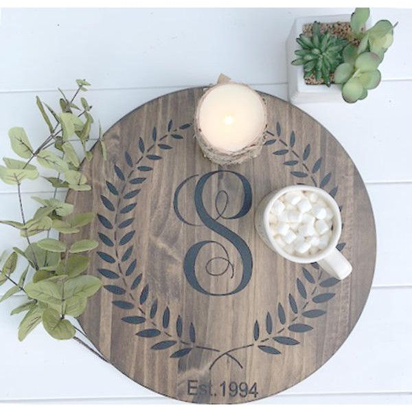 Solid Wood Wine Barrel Personalized Gifts Lazy Susan Hand Painted