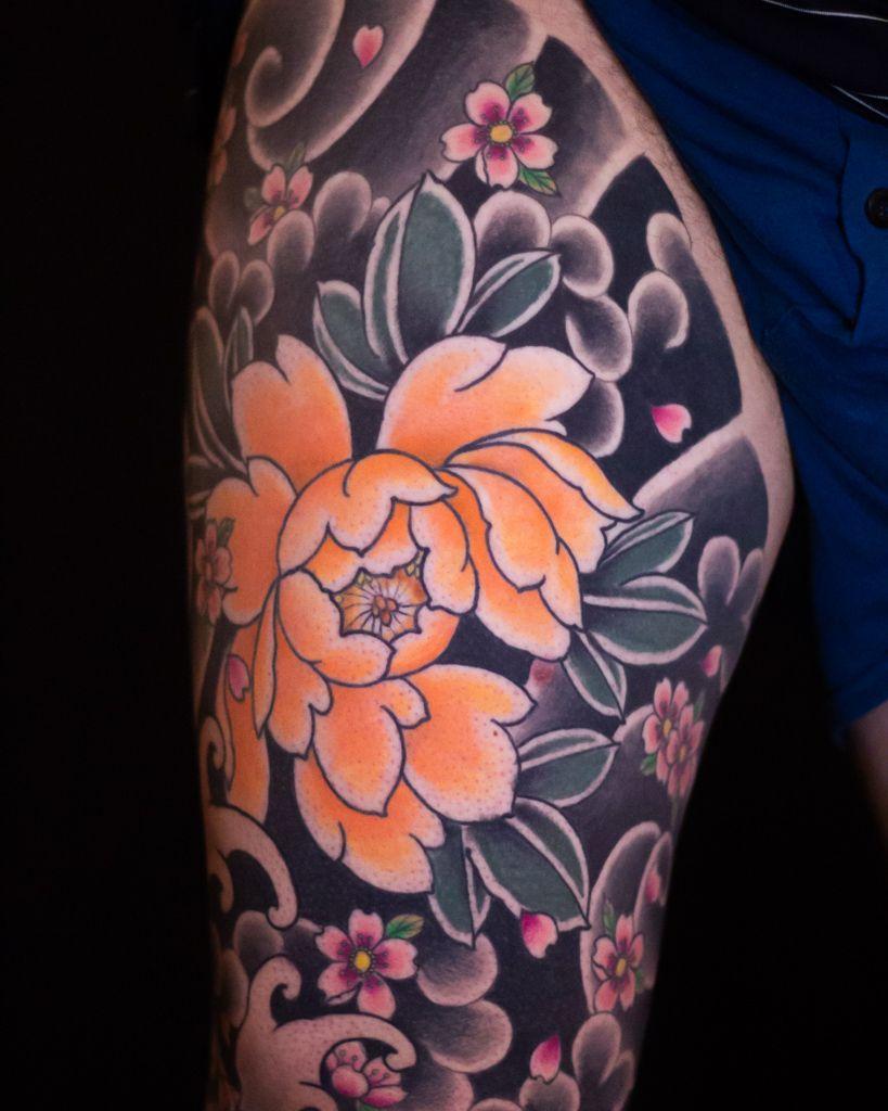 Japanese Peony Tattoo San Diego Tattoo Artist In 2020 Japanese Peony Tattoo San Diego Tattoo Artists Tattoo Artists