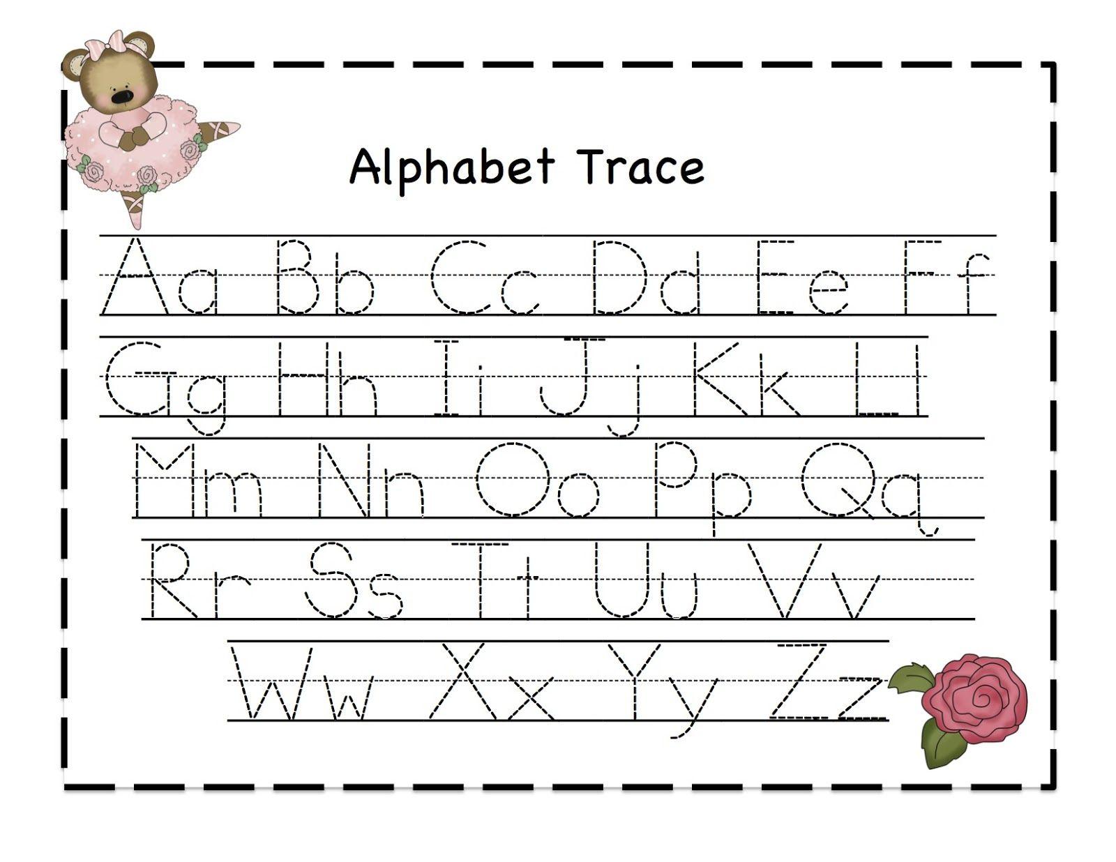Dancing Bear Alphabet Trace Chart Free