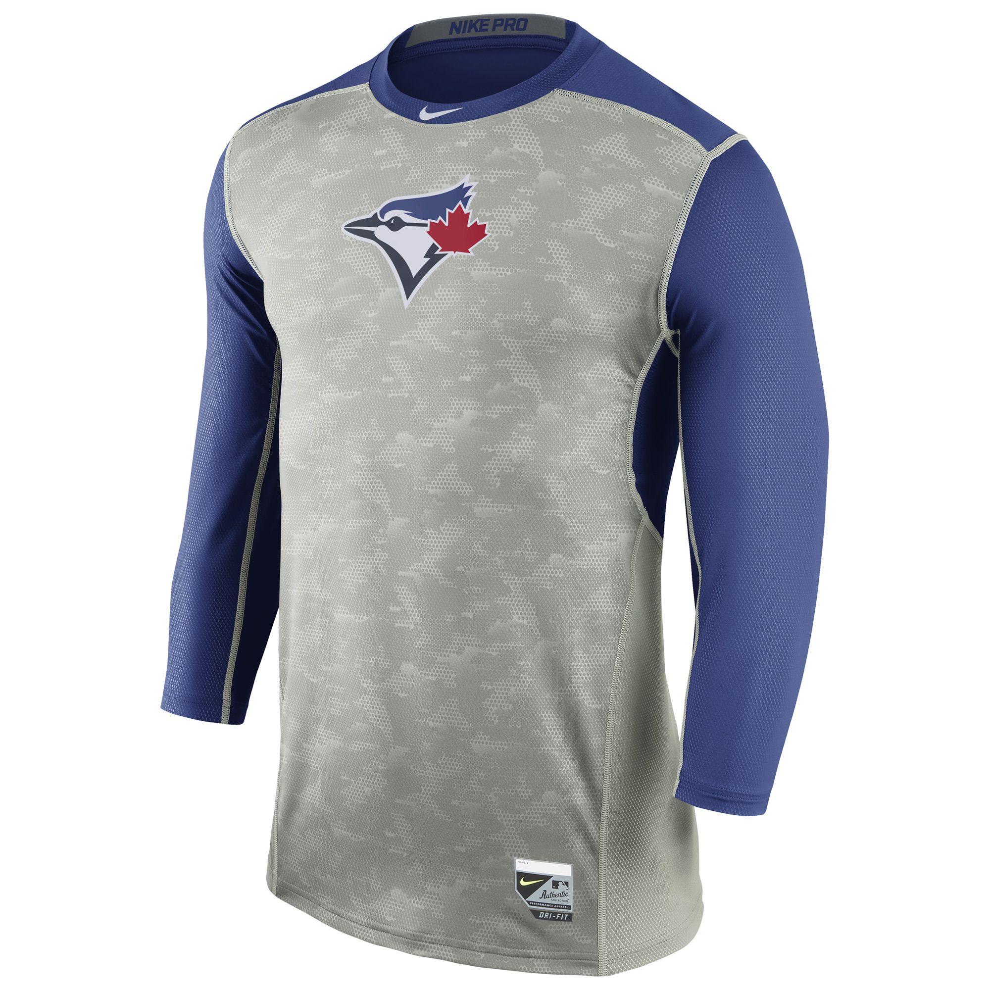 MLB Toronto Blue Jays Nike Authentic Collection Hypercool Three-Quarter  Sleeve Performance T-Shirt