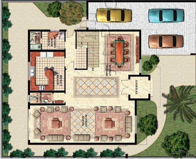 تصميم فيلا خليجى 5 غرف نوم Colonial House Plans Exterior Design Colonial House
