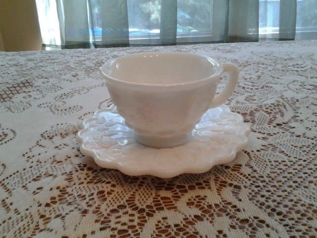 WESTMORELAND PANELED GRAPE CUP AND SAUCER