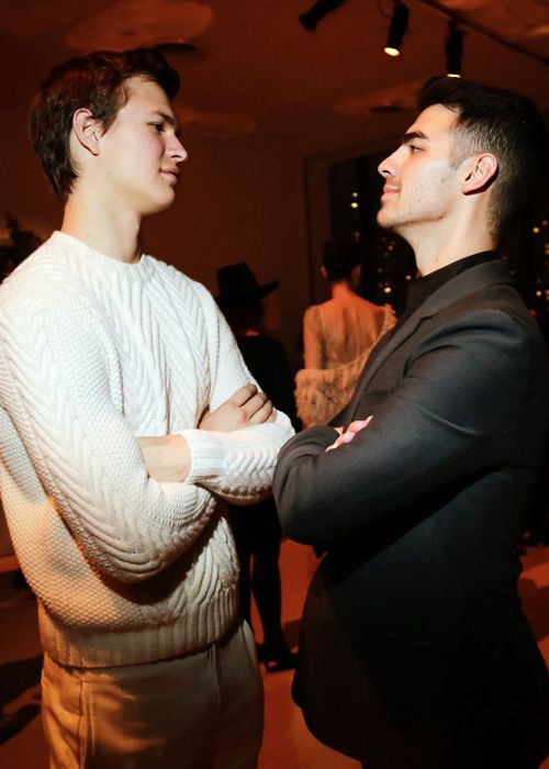 Ansel Elgort and Joe Jonas attend the 11th annual CFDA/Vogue Fashion Fund Awards at Spring Studios in New York City (November 3, 2014)