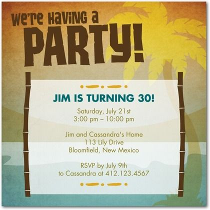 Groovy Luau Adult Birthday Party Invitations in Chocolate