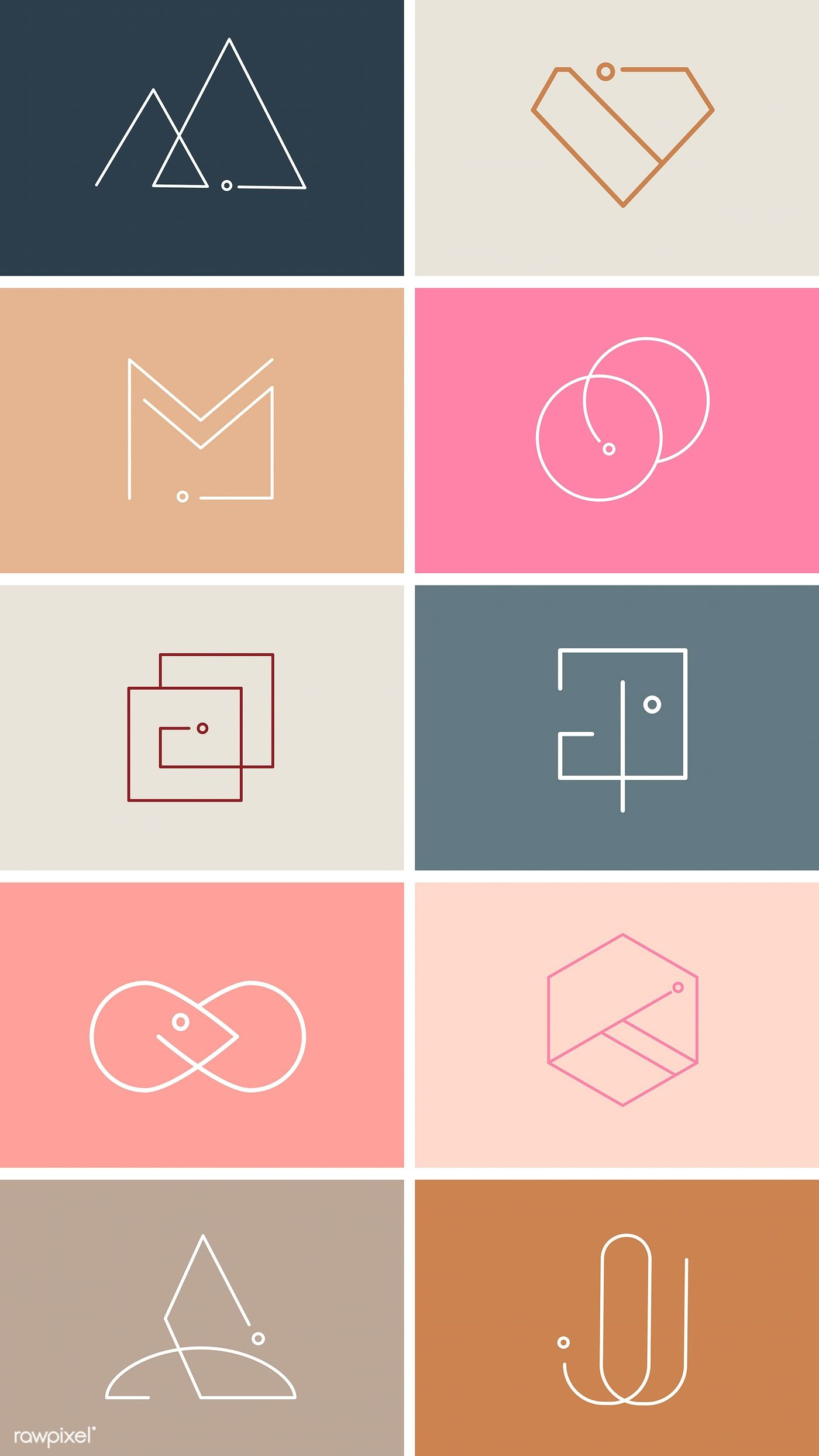 Colorful minimal design logo collection vectors free