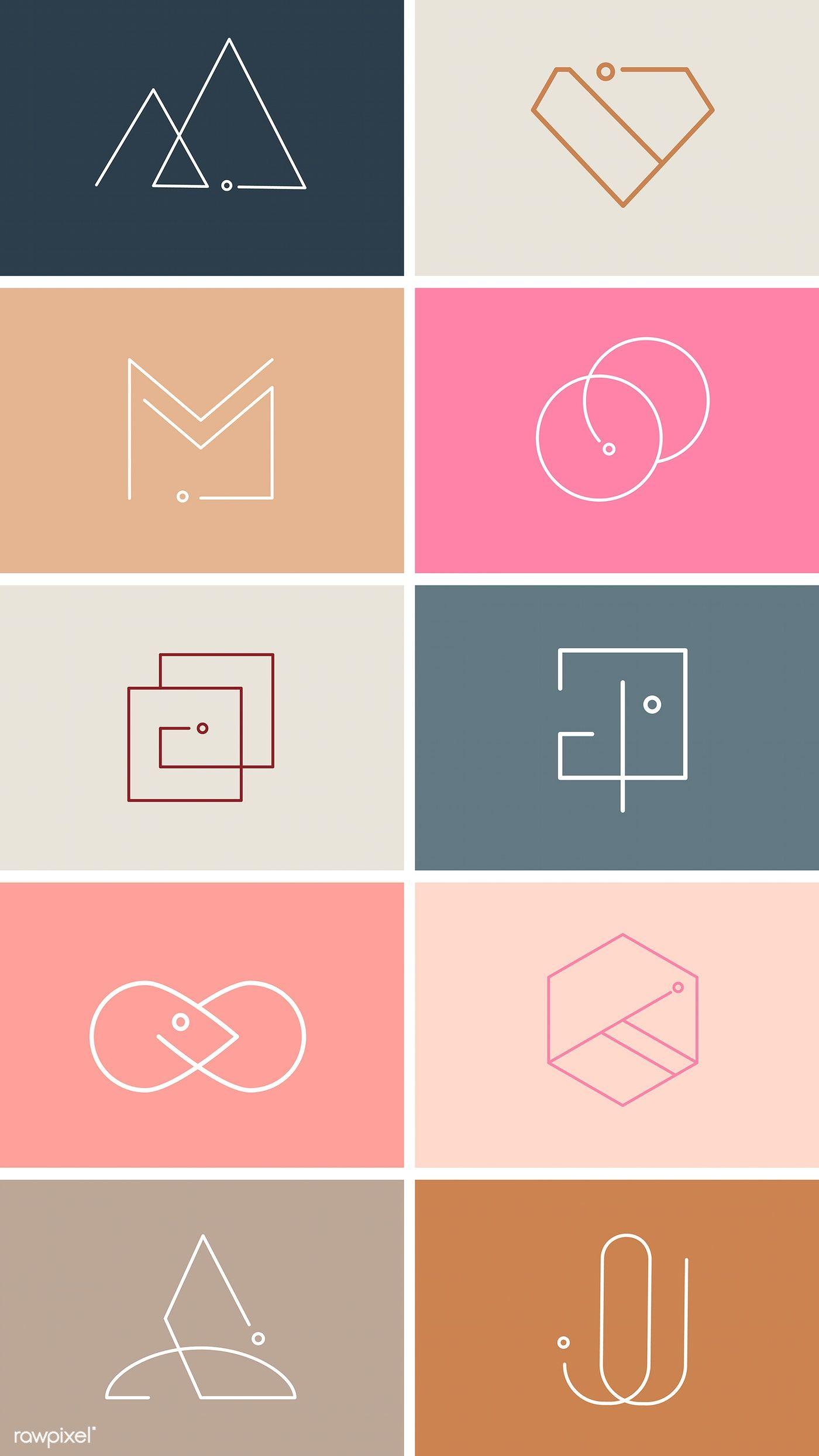 Colorful minimal design logo collection vectors free