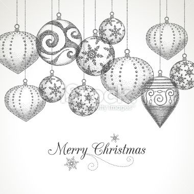 Hand Drawn Christmas Ornaments Christmas Stencils Ornament Drawing Xmas Drawing