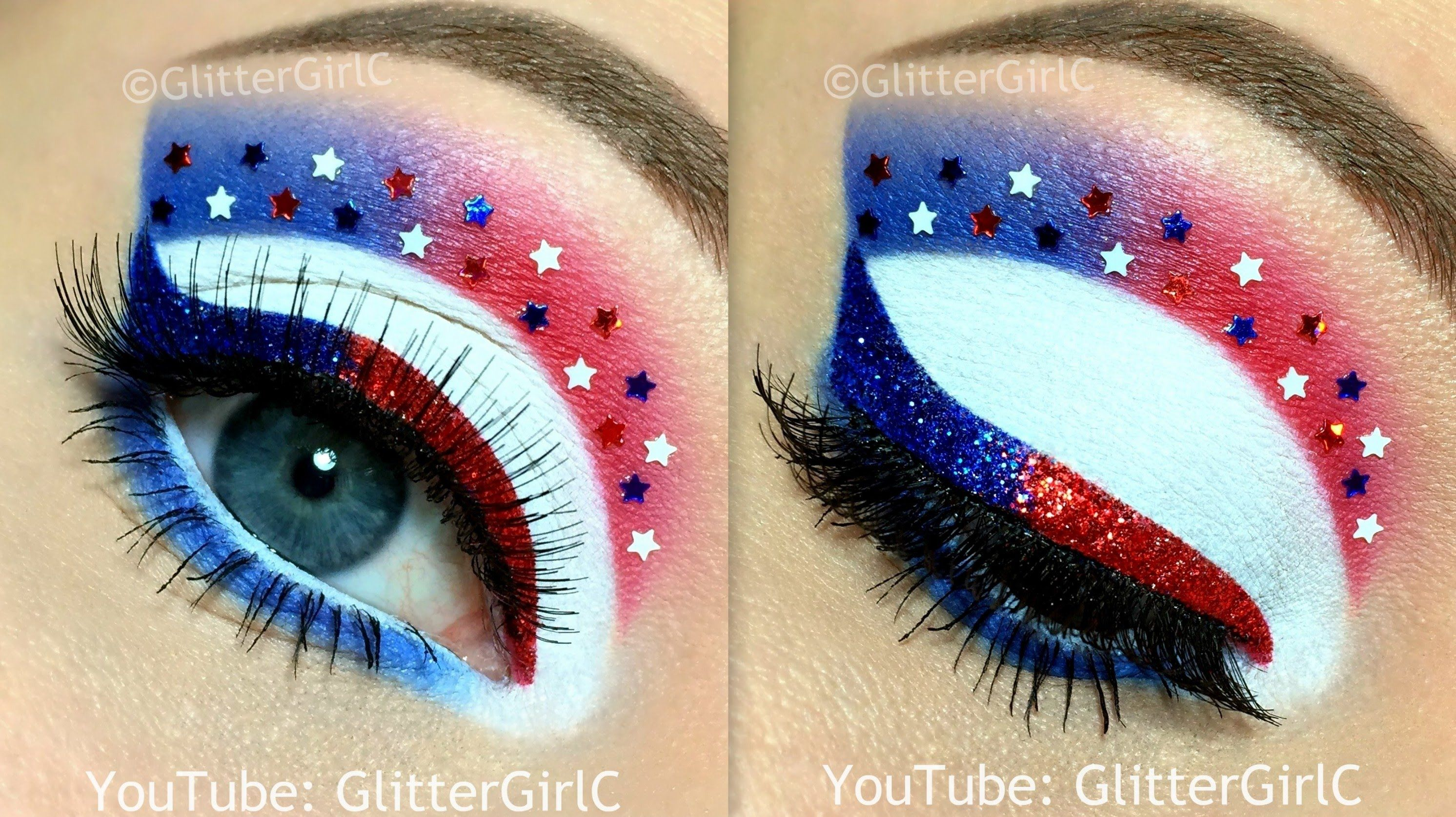 4th Of July Makeup Tutorial Youtube Channel Fullsk3bia Eye