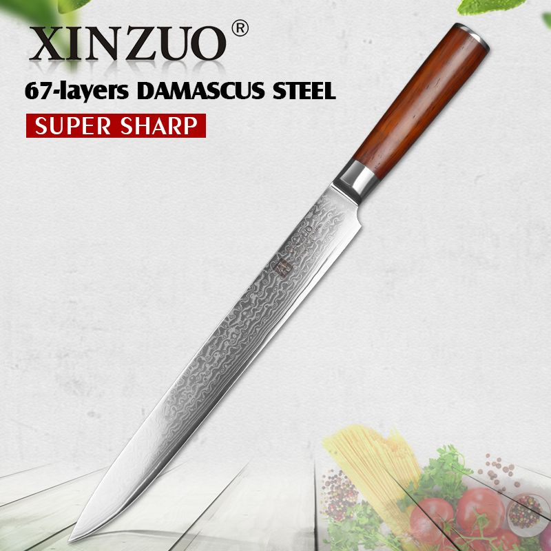 Reviews 2017 Xinzuo 10 Inch Cleaver Knives Excellent 10cr15comov Damascus Steel Kitchen Knife Pakka Wood Handle Sashimi Free Shipping Guide 2017 Xinzuo 10 Inc