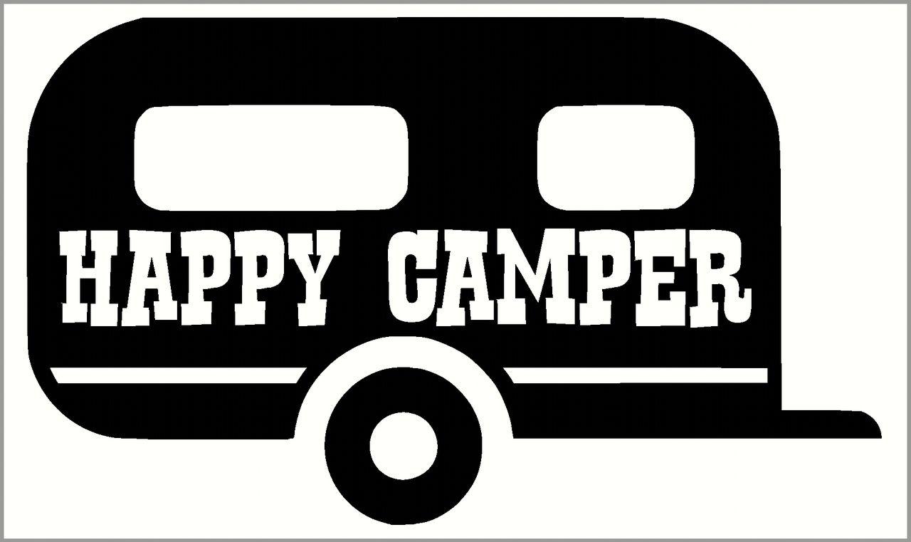 Happy Camper Summer Vinyl Wall Decals With Vintage Camper Design