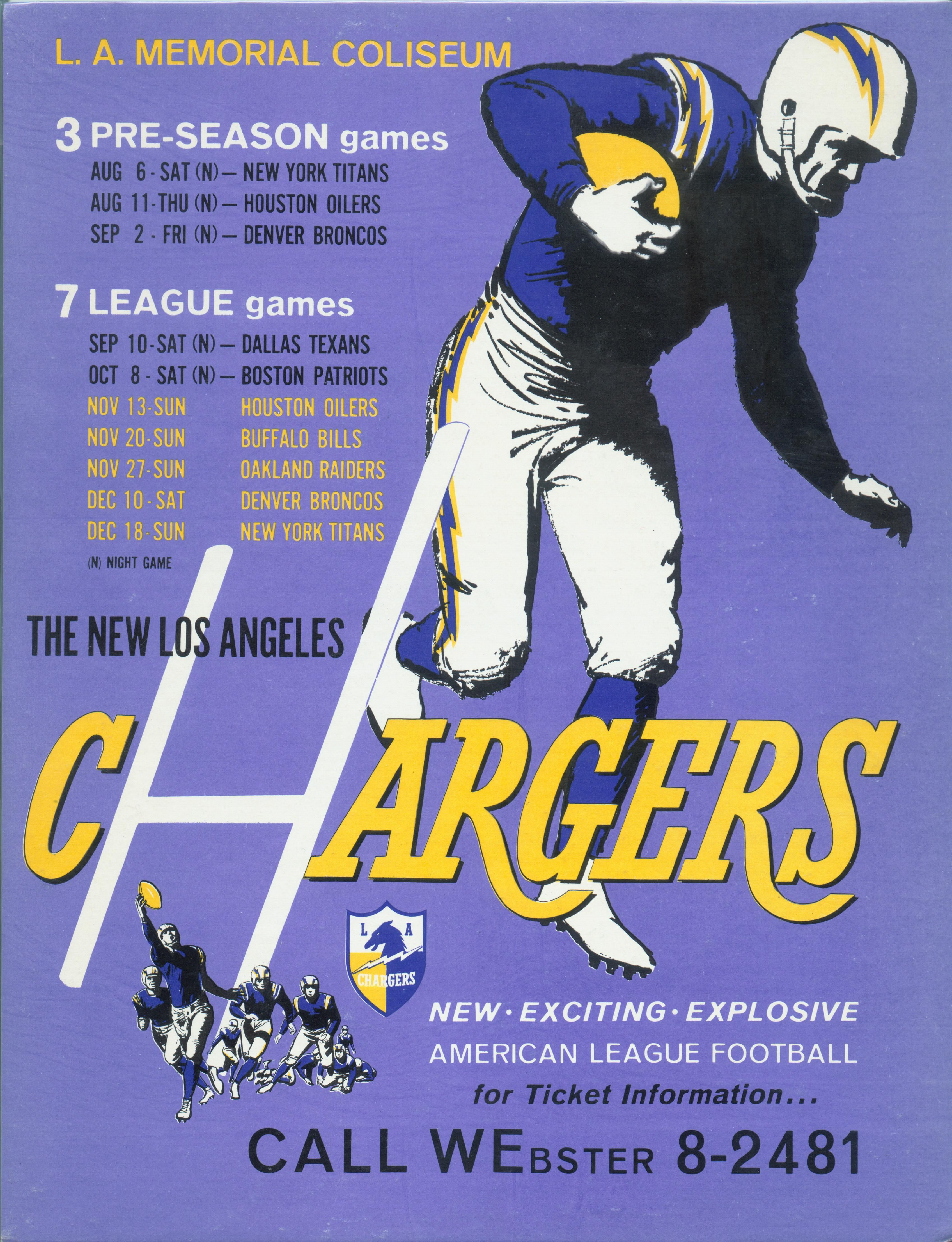 1960 Los Angeles Chargers Ticket Placard American Football League Los Angeles Chargers San Diego Chargers Football