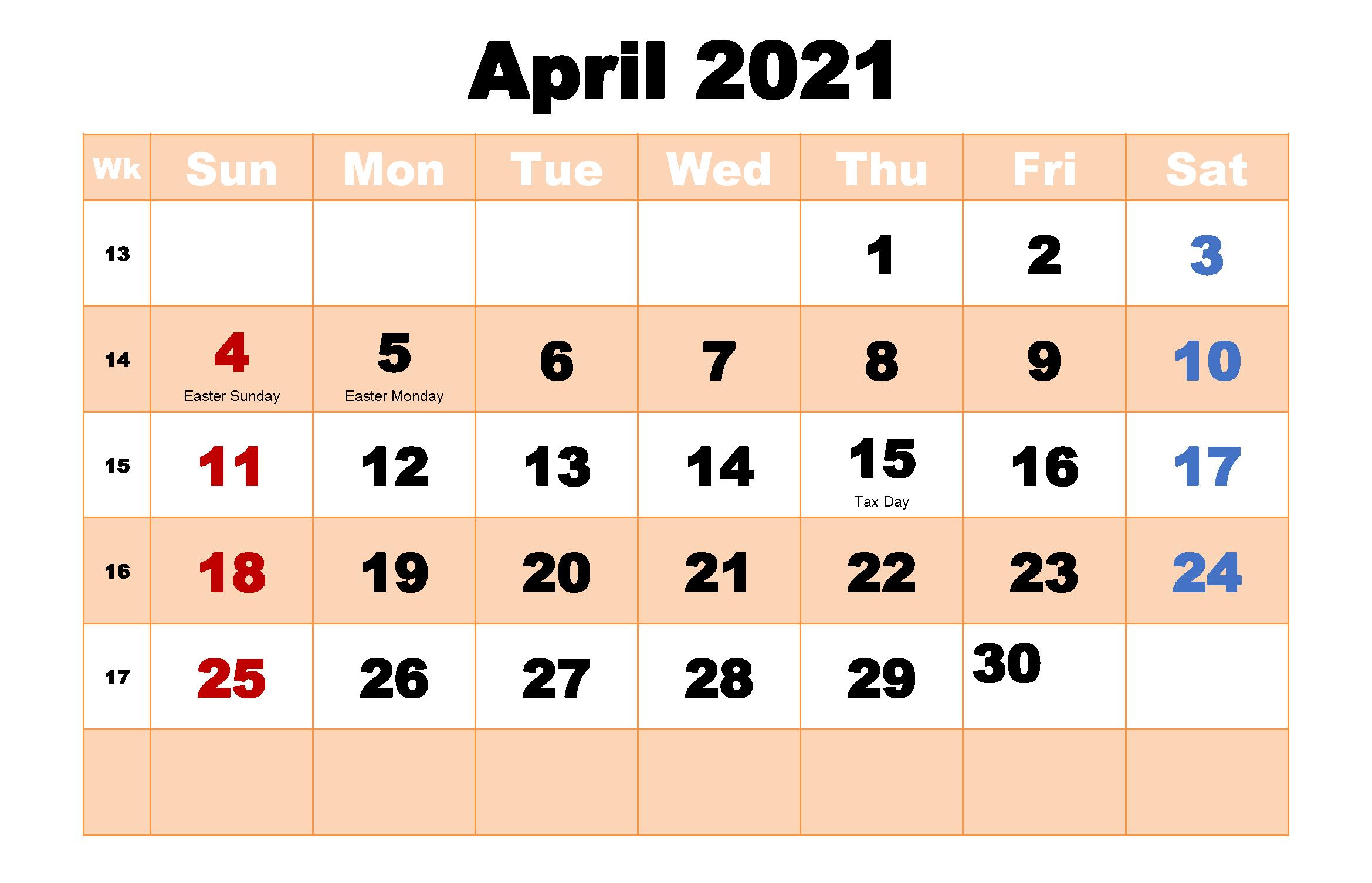 April 2021 Calendar with Holidays in 2020 | 2021 calendar ...