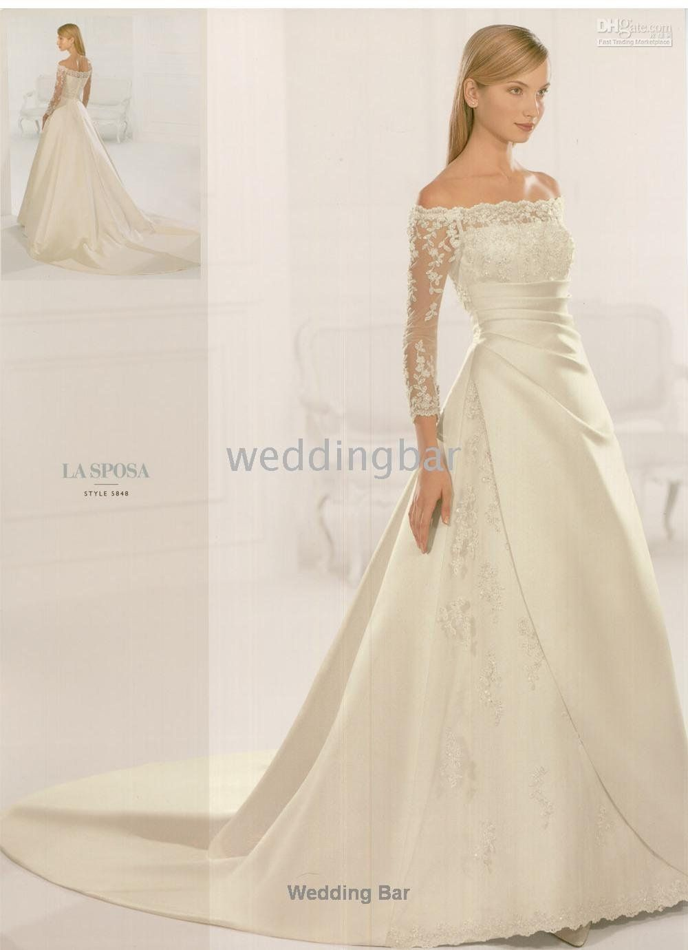 Wedding dress with collar  chapel train Aline high collar wedding dressgown and retail