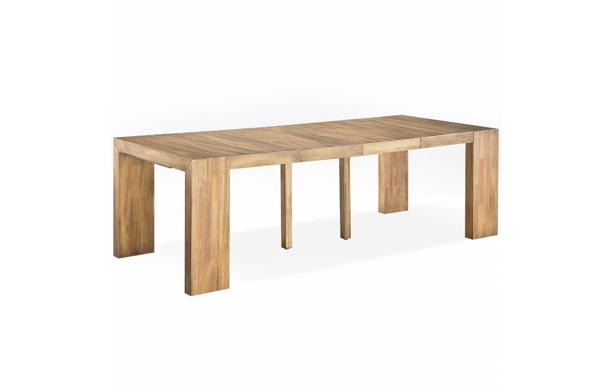 Table console extensible bois massif 3 rallonges Woodini wenge ...