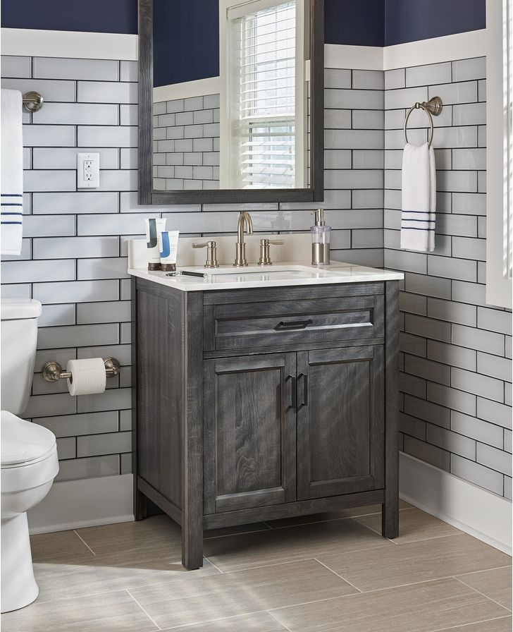 Install an updated bathroom vanity for a small change that makes a