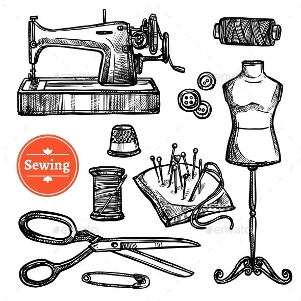 Hand Drawn Sketch Sewing Set Hand Drawn Symbols And Scissors