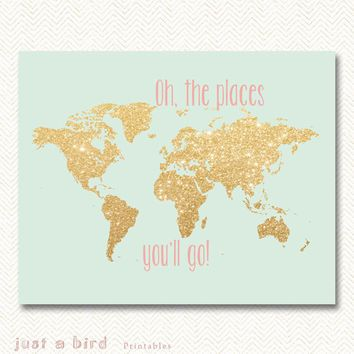 pink, coral, mint, gold nursery - Google Search Baby Room - new google world map printable