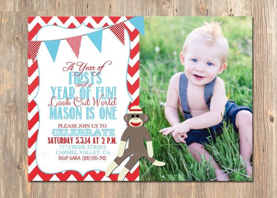 First birthday invitation sock monkey 1st birthday invite boy or first birthday invitation sock monkey 1st birthday invite boy or girl birthday invitations party invites red chevron teal bunting filmwisefo Image collections