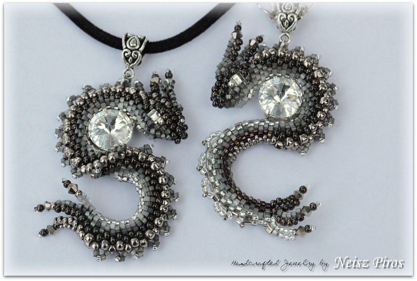 Instead of a bead use a rivoli: http://rrkra.deviantart.com/art/S-Dragon-Tutorial-263218162