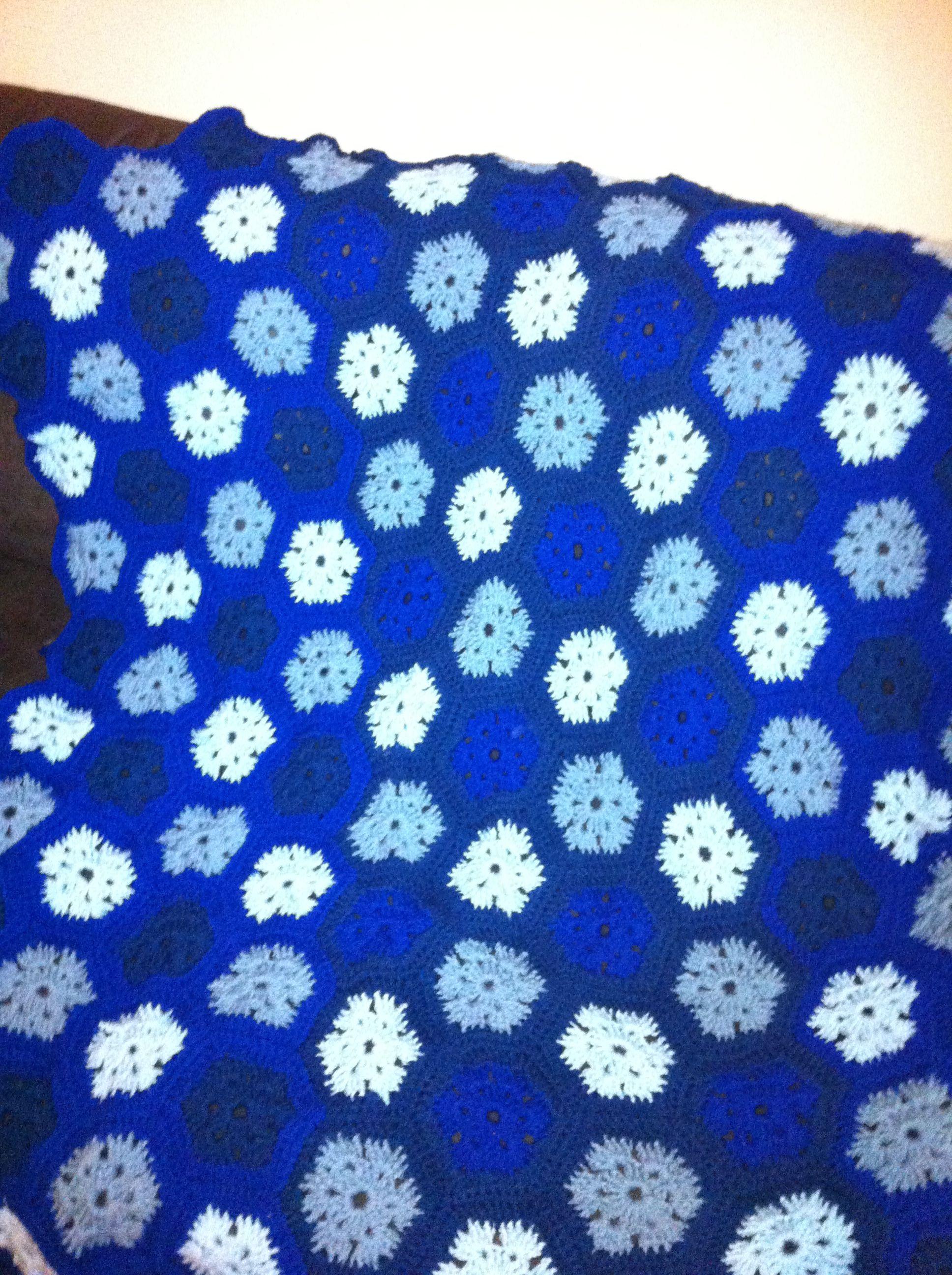 Shades of blue , hexagon afghan | Crochet | Pinterest