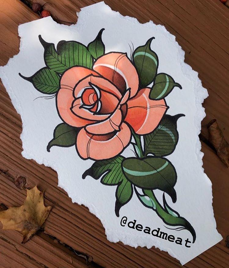 Deadmeat Neotrad Neotattoo Neotraditional Neotraditionaltattoo Neotraditionalt Traditional Rose Tattoos Traditional Tattoo Flowers Neo Traditional Tattoo