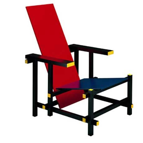 Armchair 424 Red and Blue, 1918 in Bauhaus Classic style