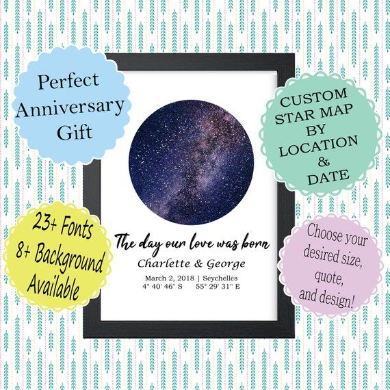 CUSTOM STAR MAP Personalized Night Sky Poster Constellation Map Anniversary Gift Wedding Gif