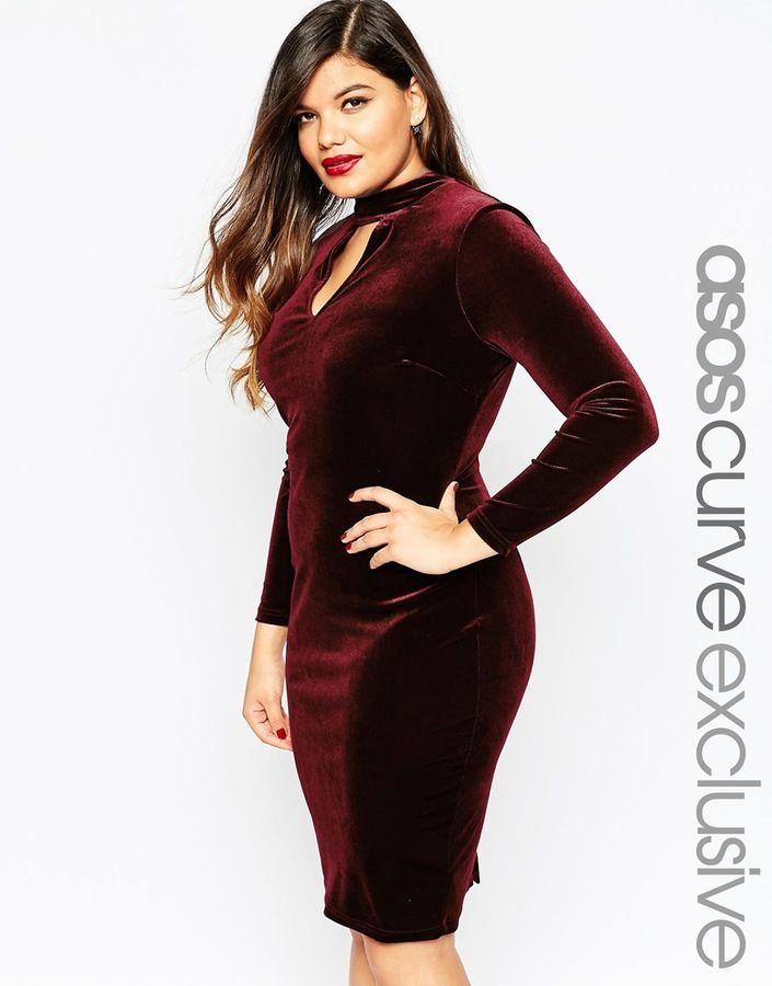 668f9717c848 Plus Size High Neck Velvet Plunge Midi Dress   dresses   Plus size ...