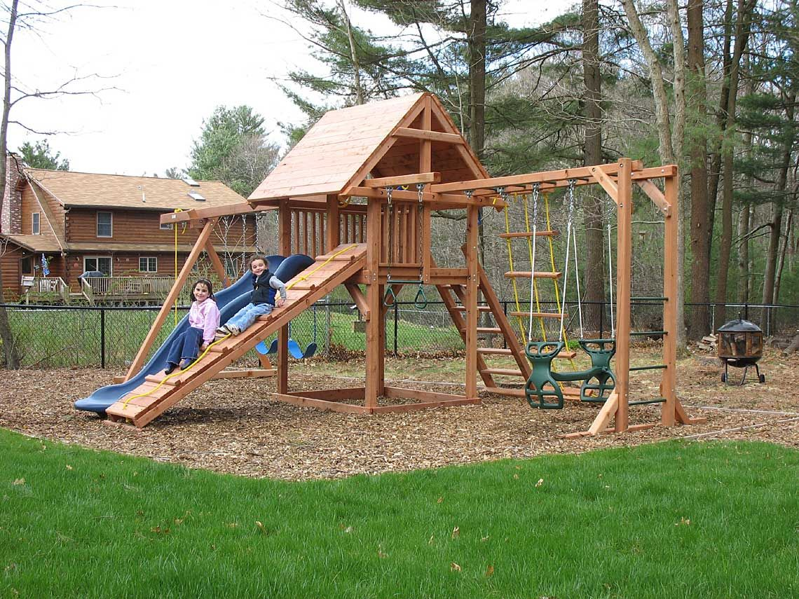 Swing Set Idea Mulch And Even To Grass With A Board Separating Swing Set Diy Wooden Swing Set Plans Swing Set Plans