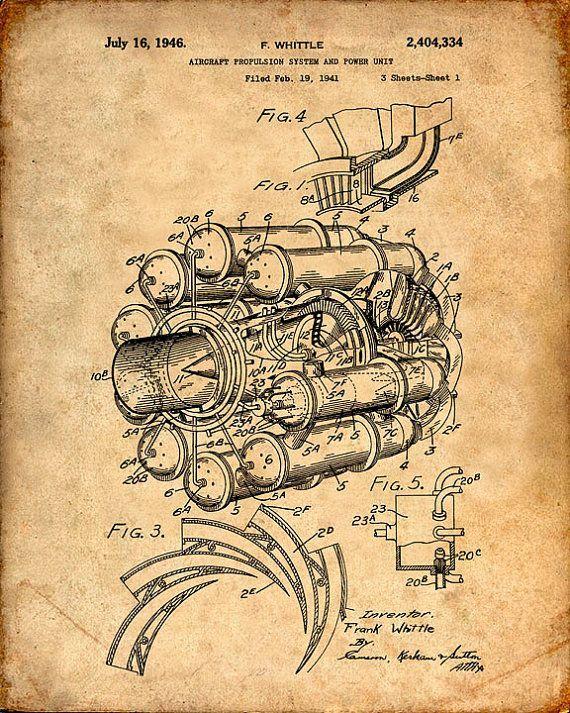 Jet Engine Patent Print Jet Engine Patent Art Print Jet Engine ...